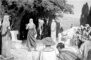 view Hippocrates lecturing to his students under the plane tree on the island of Cos.