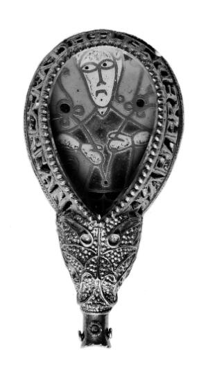 view A copy of the Alfred Jewel, an Anglo-Saxon jewel associated with Alfred the Great, king of the West Saxons 871-99