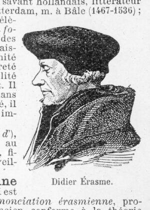 view Portrait of Desiderius Erasmus, modern engraving from a French biographical dictionary