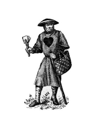 view Leper in costume, with clapper and basket.