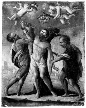 view Martyrdom of Saint Bartholomew, oil painting on wood panel.