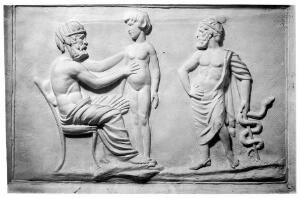 view Greek physician and patient, plaster cast in W.H.M.M.
