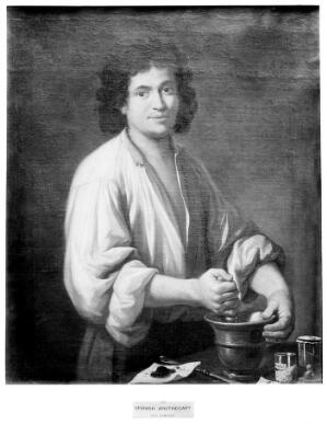 view An apothecary (a man using pestle and mortar). Oil painting by a Spanish painter, 18th century.