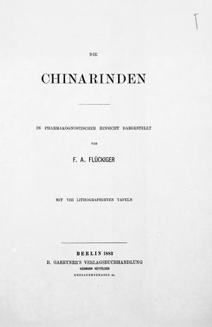 view Title page, Die Chinarinden.
