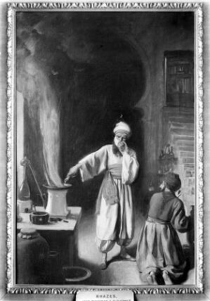 view Rhazes (Rāzī), Arab physician and alchemist, in his laboratory at Baghdad. Oil painting by Ernest Board.