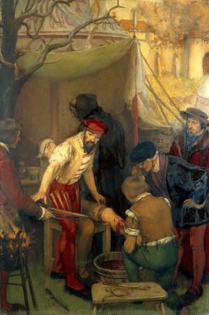 view Ambroise Paré amputating leg on battlefield