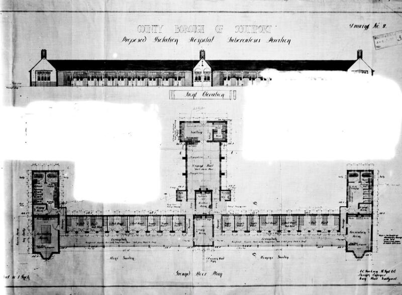 Plan Elevation Section Of Hospital : Plan and elevation of southport isolation hospital