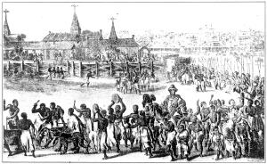 view A Royal progress in Benin, procession dwarfs and hunchbacks near the King on horseback
