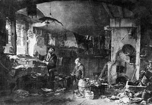 view Alchemist in his laboratory, by Thomas Wyck.