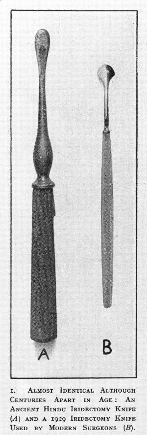 view Ancient Hindu iridectomy knives, one used by modern surgeons