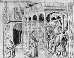 view Roger Bacon presenting one of his Works to the Chancellor of Paris University.