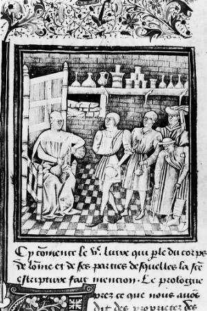 view Illustration of patient visiting a physician, 14th century.