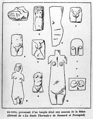 view Ex-voto: page of illustrations from Cabanes, Moeurs intimes du passe. 11 votive tablets.