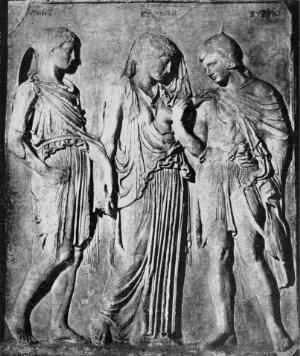 view Relief of Orpheus and Eurydice. Relief found in Italy.