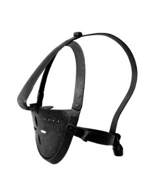 view Scold's bridle of iron. From the original in the Tower of London. Three quarter view showing padlock on back.
