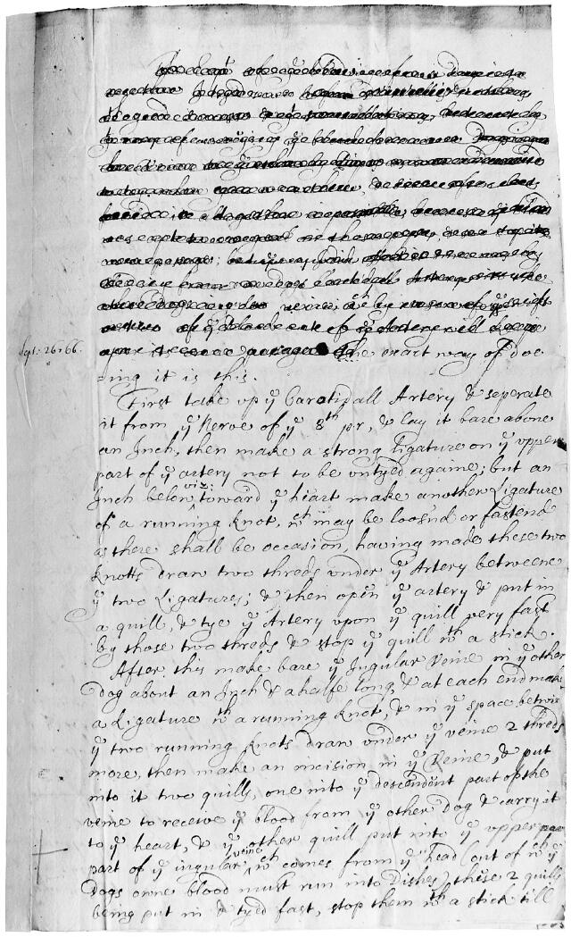 king and lower transfusion of blood account of 1666