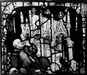 view Curing from Shrine of St. William, glass panel, 1420.
