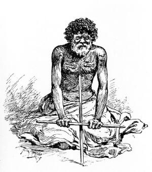 view Illustration of fire-making, New South Wales