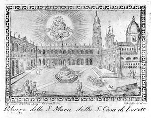 view Coloured engraving: Santa Casa di Loreto.