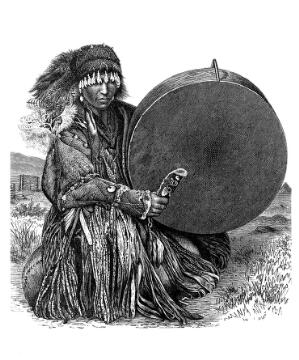 view Mongol on Jurkie Shaman with drum, Central Asia
