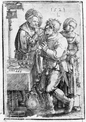 view A tooth-drawer extracting a tooth from a standing patient, who is being pick-pocketed by a woman. Line engraving by L. van Leyden, 1523.