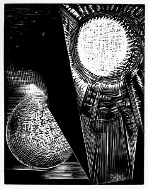 view The creation of Sun and Moon. Woodcut from Genesis, Paul Nash.