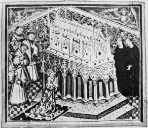 view English king worshipping at the Shrine of Saint Edmund. King and Martyr.