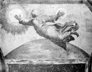 view The creation of Sun and Moon. Fresco in the Vatican.