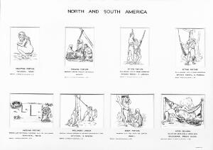 view Drawings of birth postures, 8 subjects, South & North America