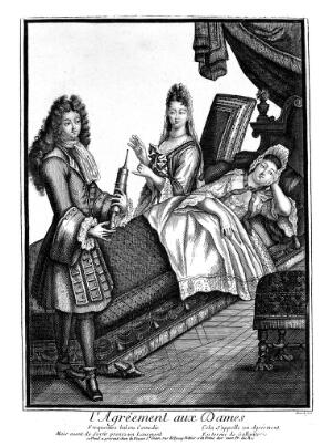 view A fashionable lady being given an enema by a charming young man. Line engraving by Dicuelt, 18--.