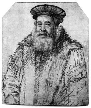 view Portrait of Petrus Forestus, by H. Goltzius