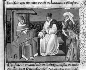 view Physicians(?), one of them seated in a closed chair, and a cripple using crutches.