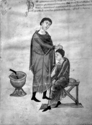view Physician and patient, 13th Century