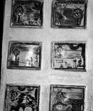 view Votive tablets in the Church of Santa Marie de Bagni. Deruta. Close up detail of six tablets.