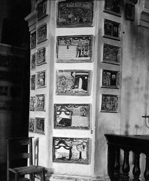 view Votive tablets in the Church of Santa Marie de Bagni. Deruta. General view.