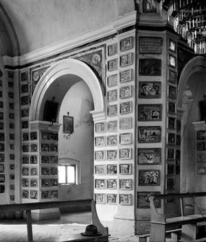 view Votive tablets in the Church of Santa Marie de Bagni. Deruta.