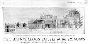 view Baths of Cracalla, Rome, shown in section.