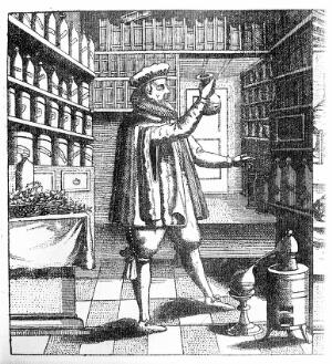 view Laboratory and library of an apothecary - physician, showing books on shelves, drug jars, distilling, etc. and the proprietor examining a flask; below, verses in German.