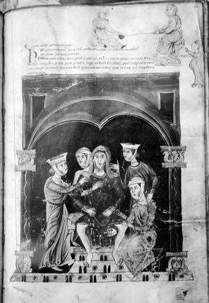 view Apollodorus de Herbis, childbirth scene, 13th Century