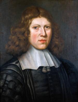 view Richard Lower (1631-1691), anatomist. Oil painting by Jacob Huysmans.