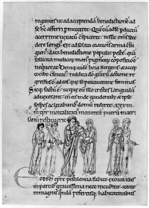 view St Cuthbert Cure of Child Dying from plague, 12th century.