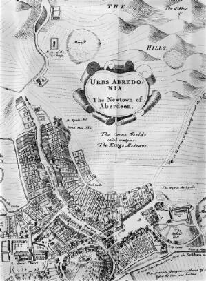 view Part of a map of Aberdeen in 1661. Showing the site of the Leper Hospital on the road leading to old Aberdeen.