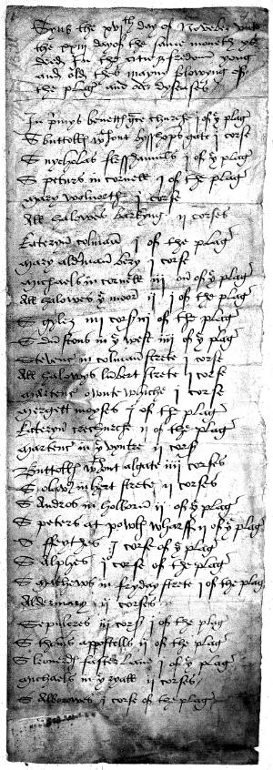 view Bill of Mortality 1512 (?)-1532