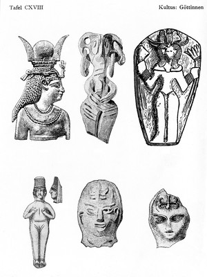 view Hittite and Egyptian types of Astarte plaques and figurines deposited in Palestinian houses to ensure health and prosperity.