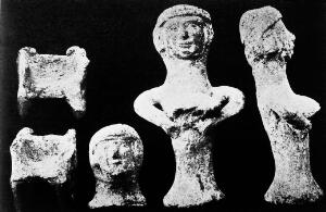 view Ancient Canaanite Teraphim. Figurines of fertility goddess.