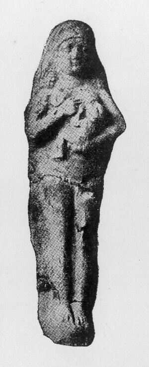 view Babylonian prototype of the Madonna and child, Astarte. Possible votive offering from woman recovered from childbirth. Original in the British Museum.
