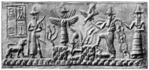 view Sumerian seal of Ad-da showing sunrise, circa 2500BC.