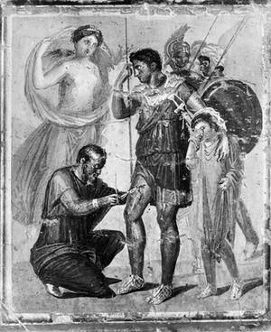 view Fresco: a surgeon treating a thigh wound.