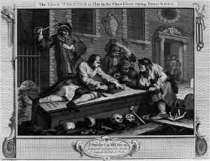 view Hogarth's The idle 'Prentice at play ...