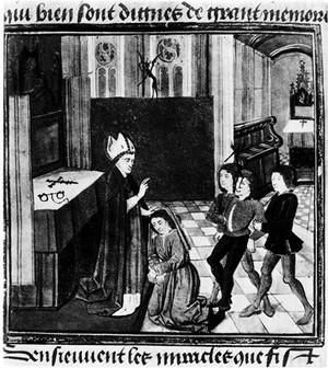 view Bishop exorcising possessed men, French 15th C